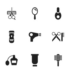 set of 9 editable hairdresser icons includes vector image vector image