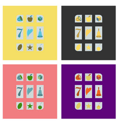 set of slot machine icon isolated on background vector image