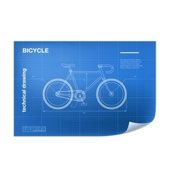 Technical with bicycle drawing vector image vector image