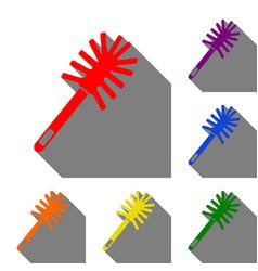 Toilet brush doodle set of red orange yellow vector