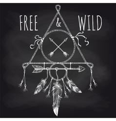 Tribal accessory with feathers on blackboard vector image vector image
