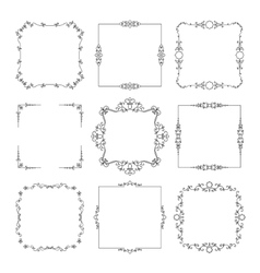 Vintage calligraphic square frame set vector