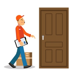 young delivery man delivery parcel to the door vector image