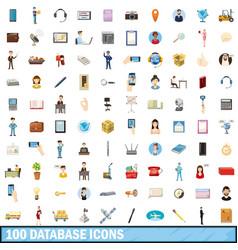 100 database icons set cartoon style vector image