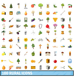 100 rural icons set cartoon style vector