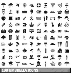 100 umbrella icons set simple style vector