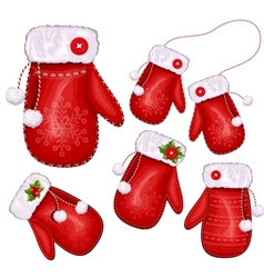 Christmas gift mittens vector