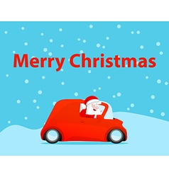 Santa drive car christmas card vector