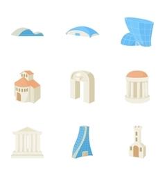 Dwelling icons set cartoon style vector