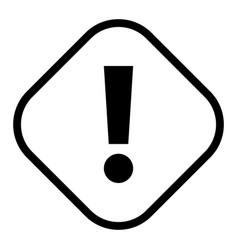 Black rhomb exclamation mark icon warning sign vector