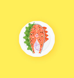 Raw salmon steak on the white plate flat vector