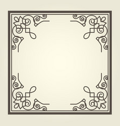 Square frame with ornate curly corners vector