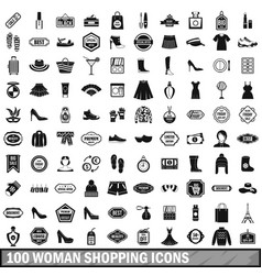 100 woman shopping icons set in simple style vector