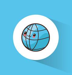 kawaii global world image vector image