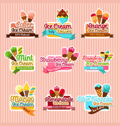 ice cream sorts stickers icons set for cafe vector image