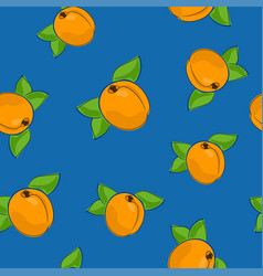 Seamless pattern apricot on blue background vector