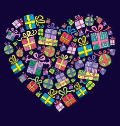 gift boxes heart shape vector image