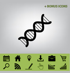 The dna sign  black icon at gray vector