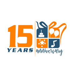 15 year gift box ribbon anniversary vector