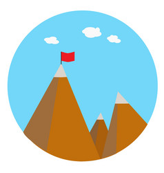 Landscape with flag on the mountain success vector
