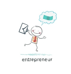 entrepreneur running with a briefcase and thinks vector image