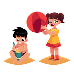 Two kids playing on sandy beach with ball bucket vector