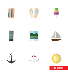 Flat icon beach set of sundae recliner sunshine vector