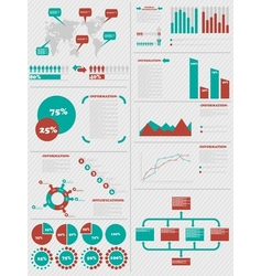 Infographic demographics 5 red vector