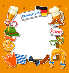 Oktoberfest frame with photo booth stickers vector
