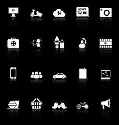 Social network icons with reflect on black vector