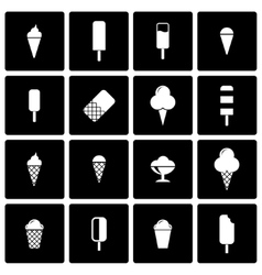 Black ice cream icon set vector