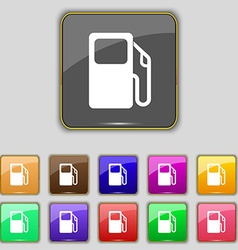Auto gas station icon sign set with eleven colored vector