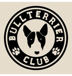 Bull terrier face bull terrier club badge vector