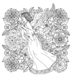 Angel on orient floral ornament vector