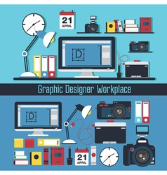 Graphic designer workplace concept vector