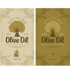 Set of labels for olive oils vector