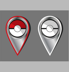 Active and passive chrome map pokeball style pins vector