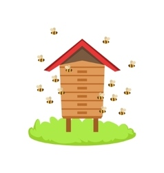 Bees Around Wooden Beehive Cartoon Farm Related vector image vector image