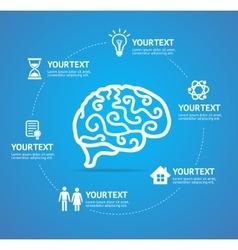 Brain infographic report template vector