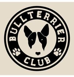 Bull terrier face bull terrier club badge vector