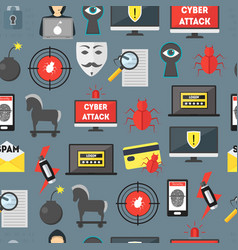 cartoon cyber crime security seamless pattern vector image