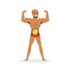 Cartoon muscularity wrestler posing with vector