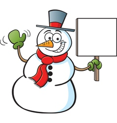Cartoon snowman holding a sign vector