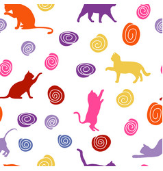 Cats and balls seamless baby background with vector