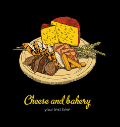 Cheese and bakery poster vector