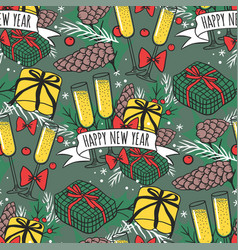 Christmas seamless pattern hand drawn style vector