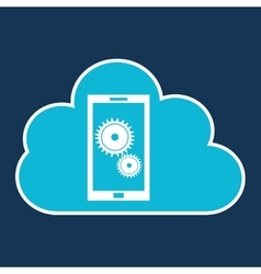 Cloud technology web language smartphone gear vector