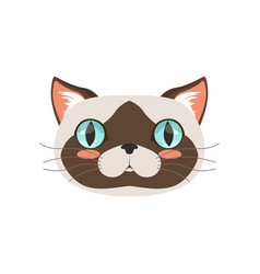 Cute cat head funny cartoon animal character vector