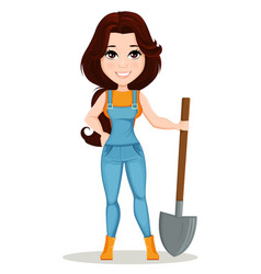 farmer girl dressed in work jumpsuit cute cartoon vector image vector image
