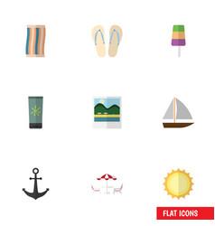 Flat icon beach set of sundae recliner sunshine vector